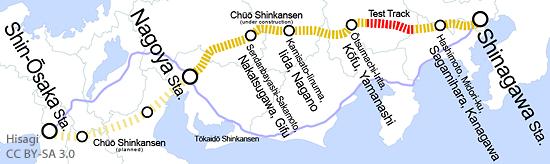 Die Strecke des Chuo Shinkansen in Japan